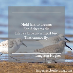 """Hold fast to dreams For if dreams die Life is a broken-winged bird That cannot fly.""
